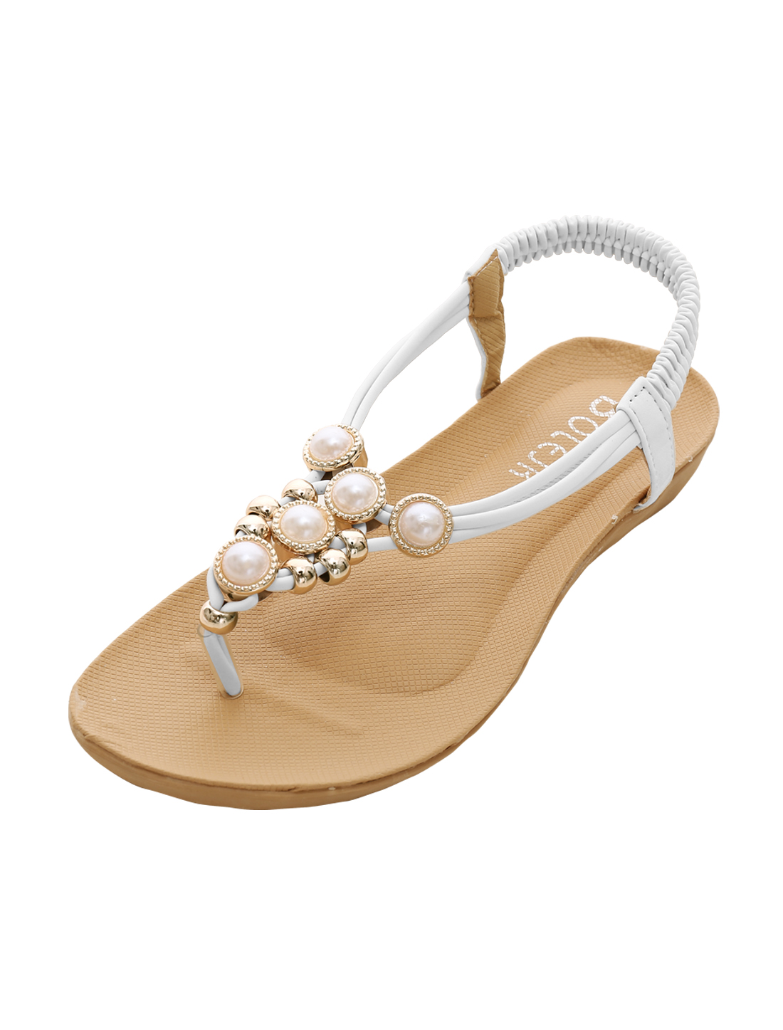 Ladies Elastic Ankle Strap Rhinestones Embellished Flat Sandals White US 5