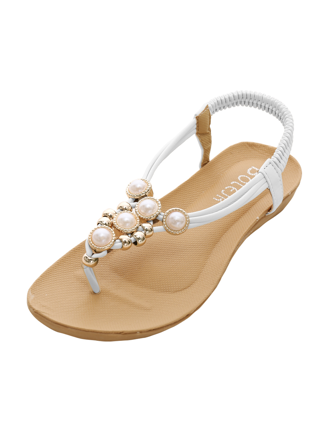 Women Elastic Ankle Strap Toe Post Summer Sandals White US 5.5