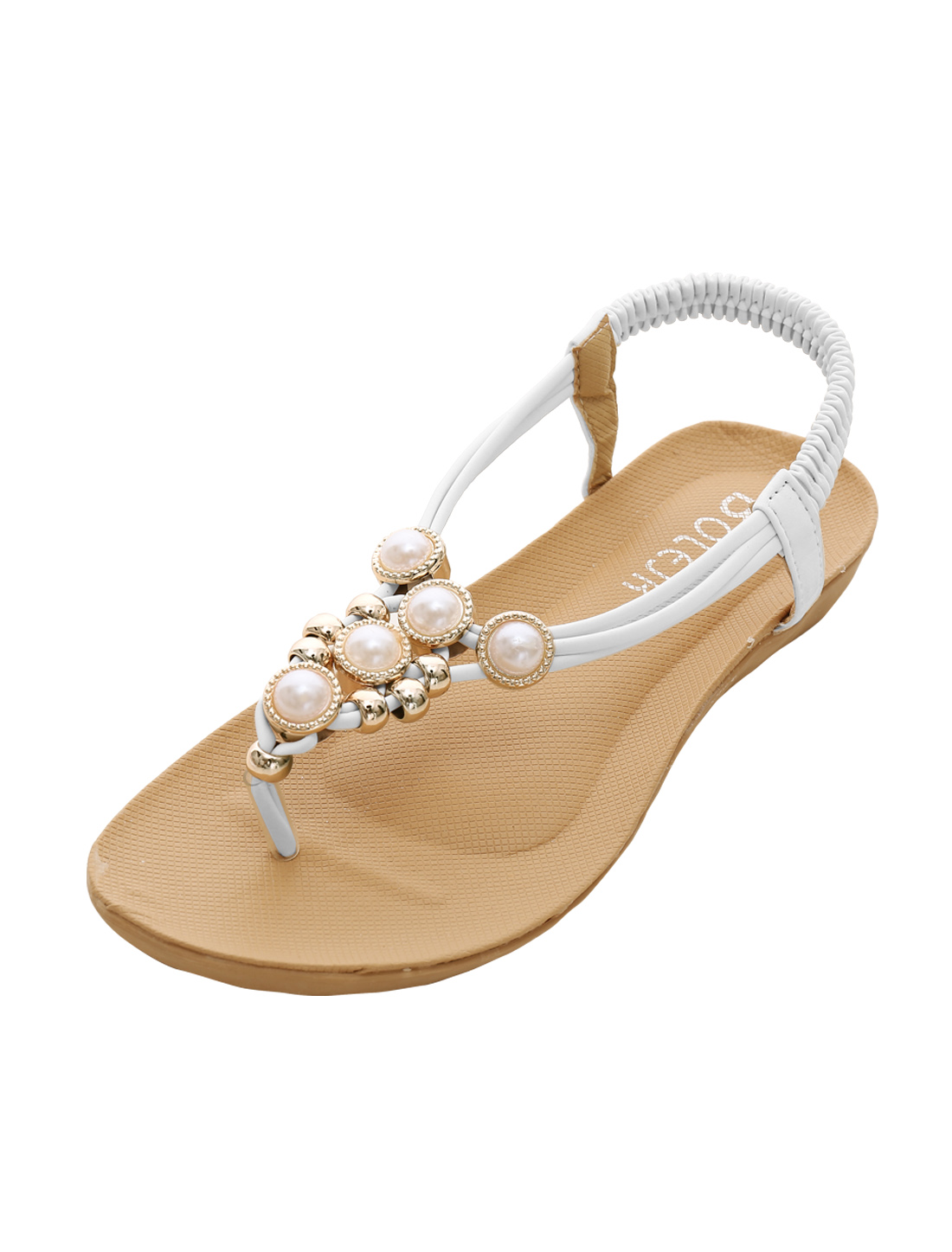 Woman Elastic Ankle Strap Textured Outsole Flat Sandals White US 6