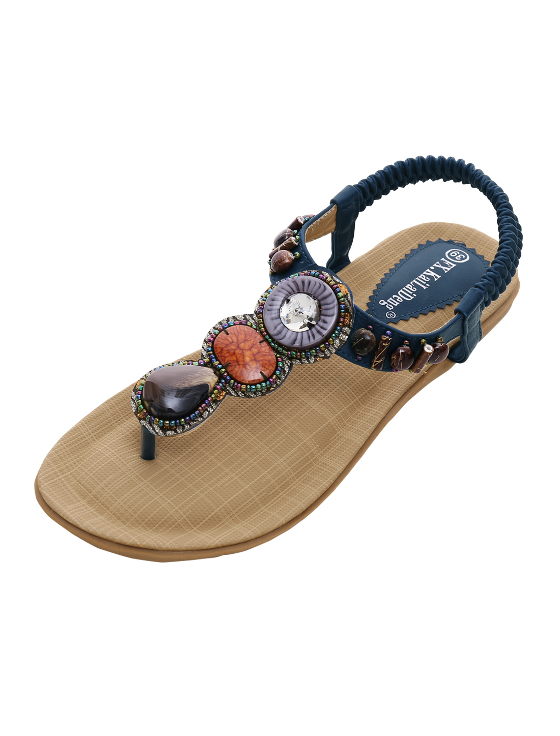 Woman Beads Decor Elastic Strap Summer Sandals Navy Blue US 8