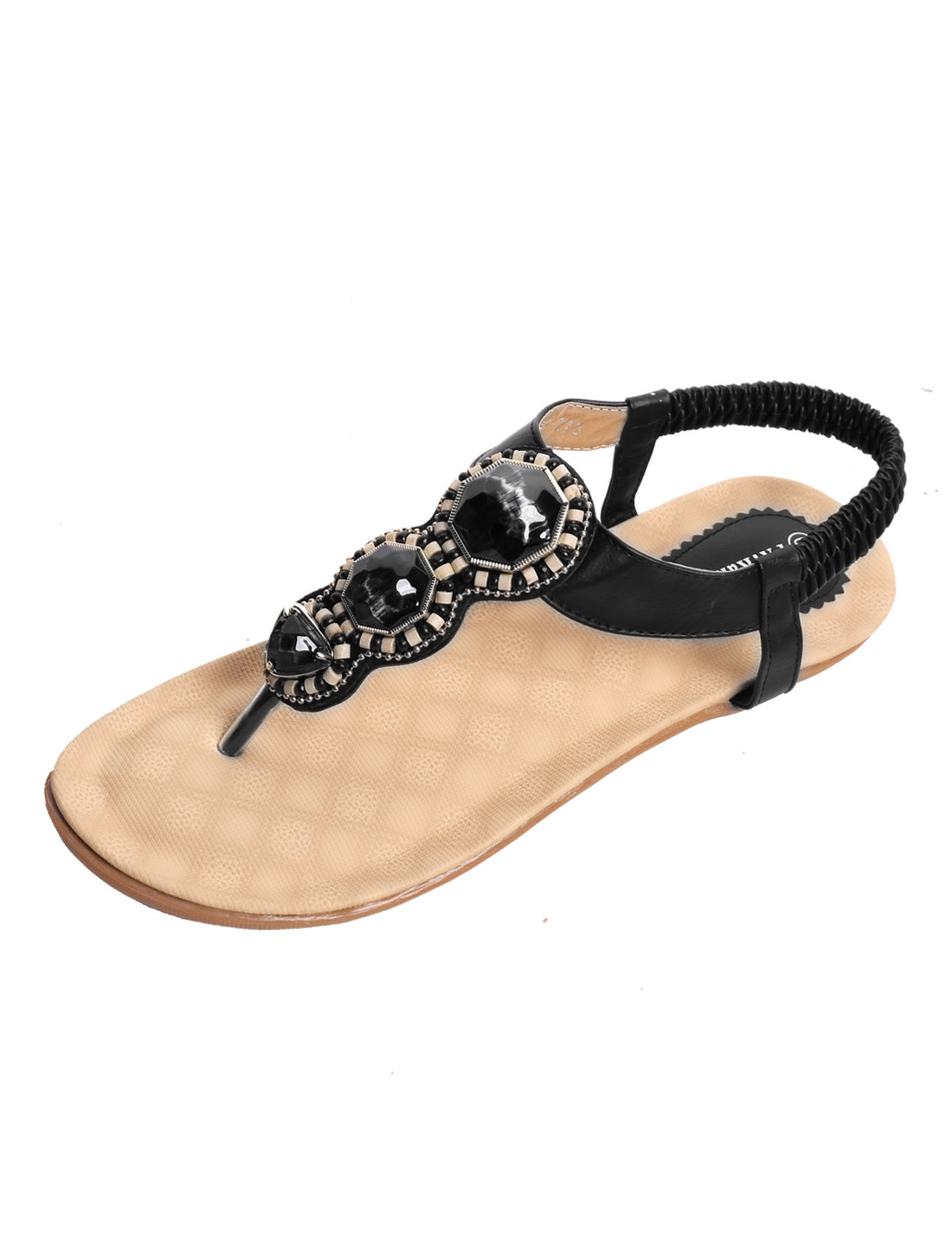 Women Diamante Upper Textured Outside Flat Sandals Black US 7.5
