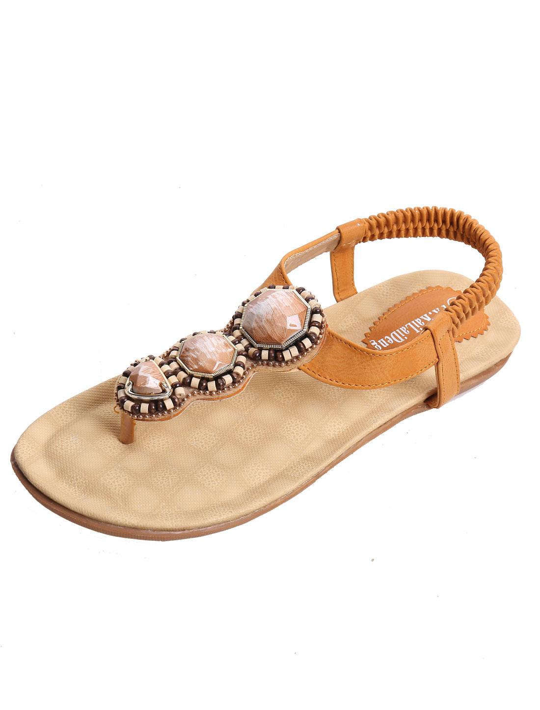Women Rhinestones Decor Elastic Strap Flat Sandals Ochre US 7
