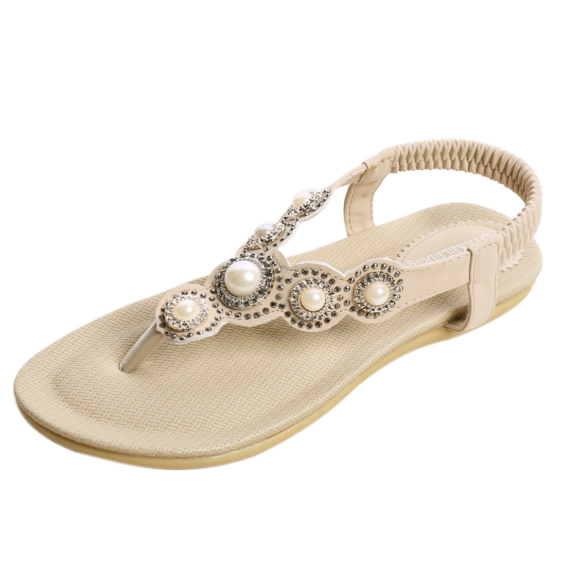 Women Rhinestones Embellished Elastic Strap Flat Sandals Beige US 7