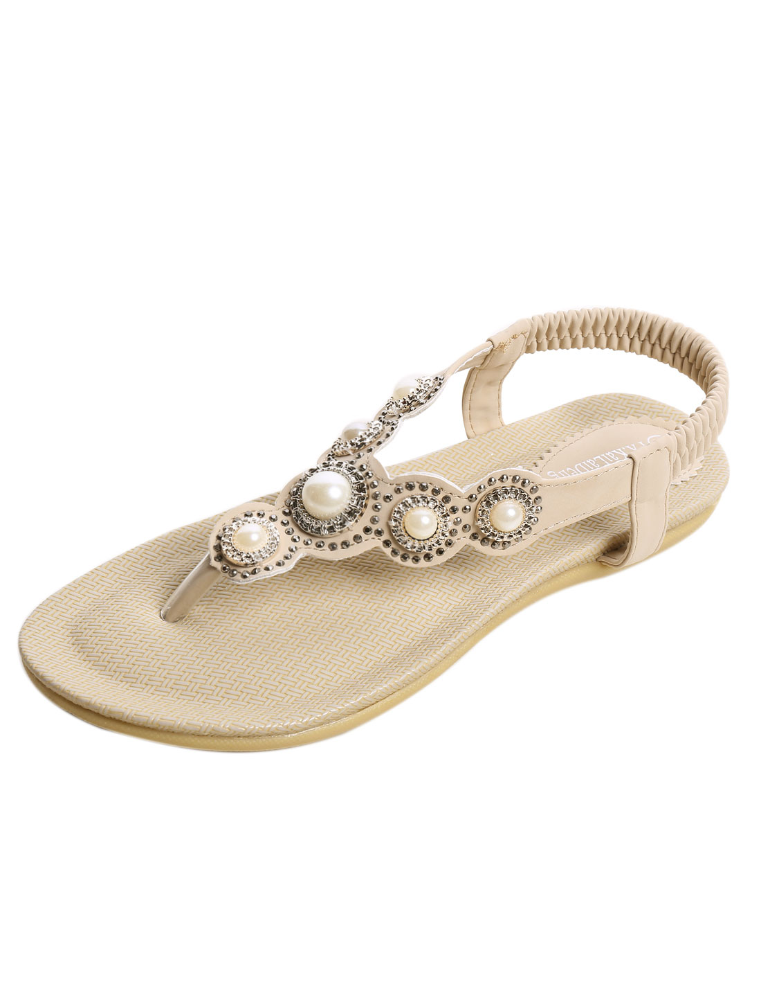 Ladies Rhinestones Beaded Textured Outside Summer Sandals Beige US 8