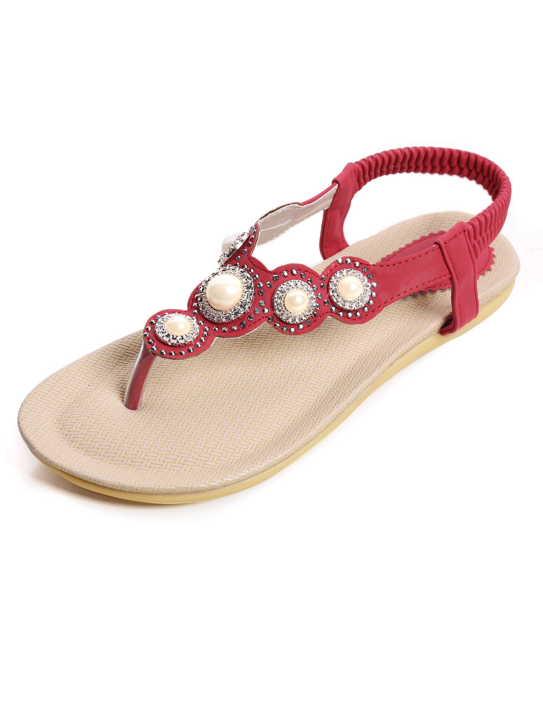 Lady Rhinestones Bead Decor Elastic Ankle Strap Sandals Red US 7.5