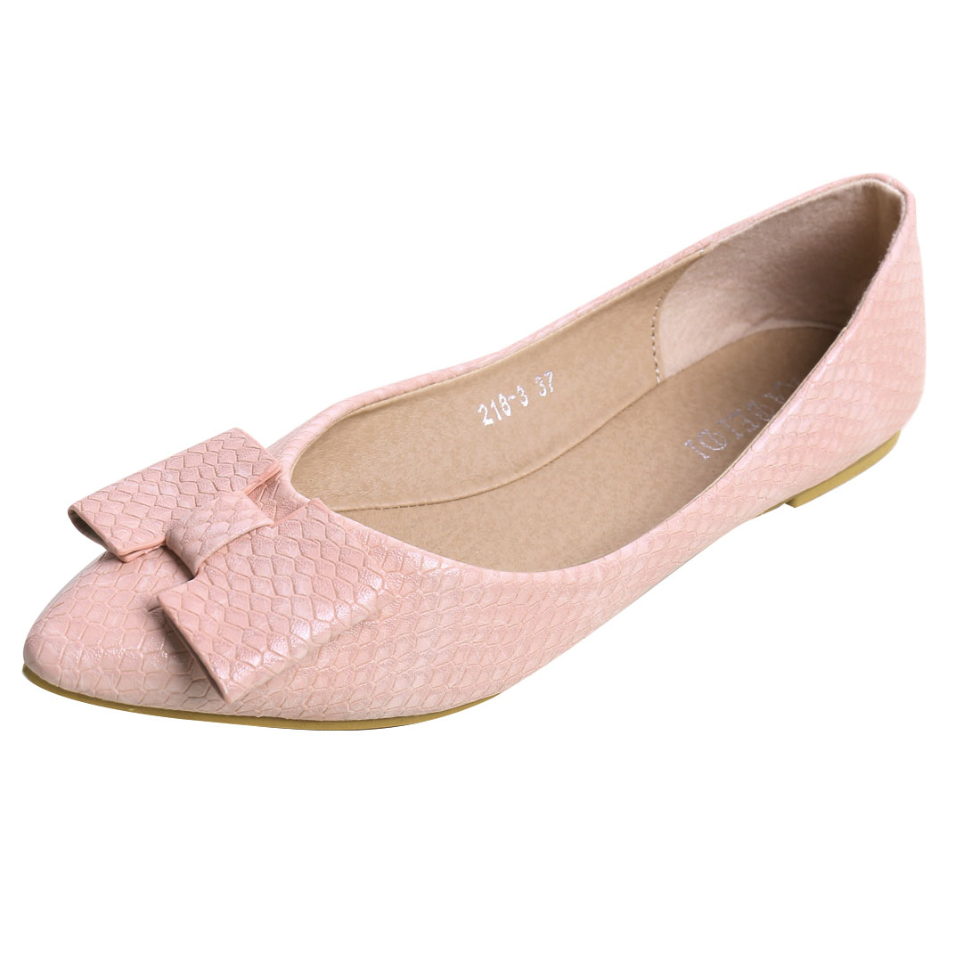 Women Pointed Toe Snake-effect Faux Leather Bow Flats Pink US 6.5