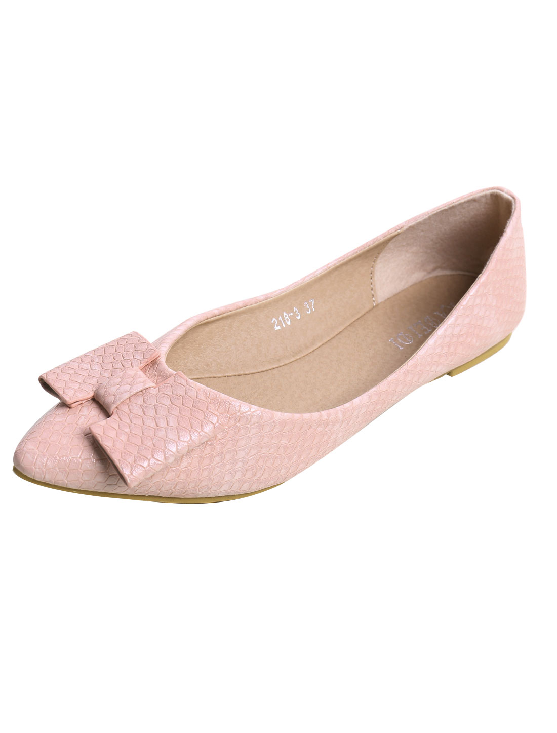 Lady Snake-effect Faux Leather Bow Pointed Flats Pink US 7.5