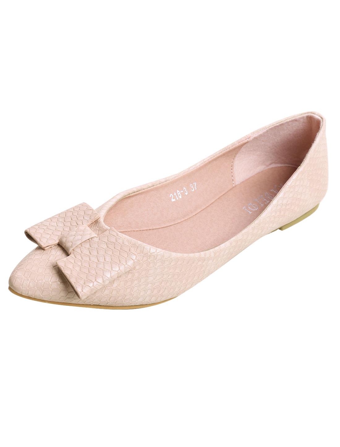 Lady Snake-effect Faux Leather Bow Flat Shoes Beige US 7.5