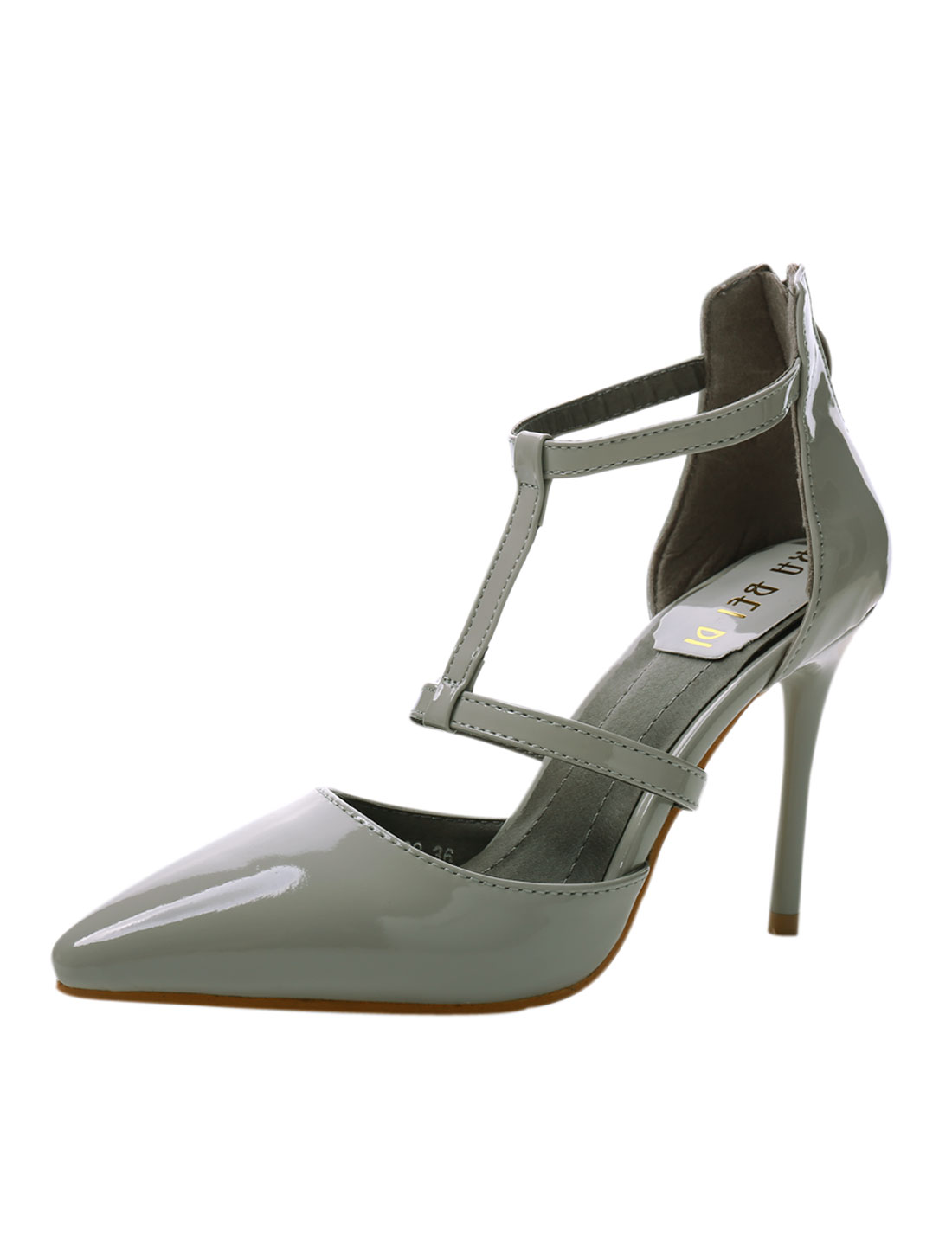 Women Cut Out Strappy Pointed Toe High Heels Pumps Light Gray US 6