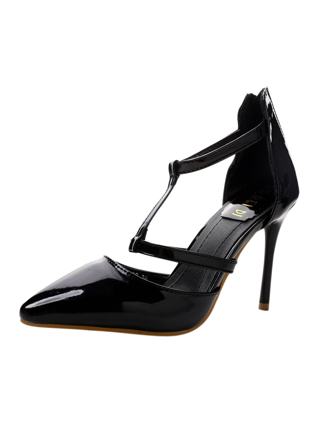 Women Cutout Front Strappy Slim Heels Pointed Pumps Black US 6.5