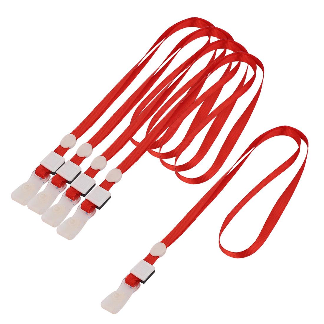Staff ID Name Card Pass Badge Holder Neck Strap String Lanyard Red 5pcs