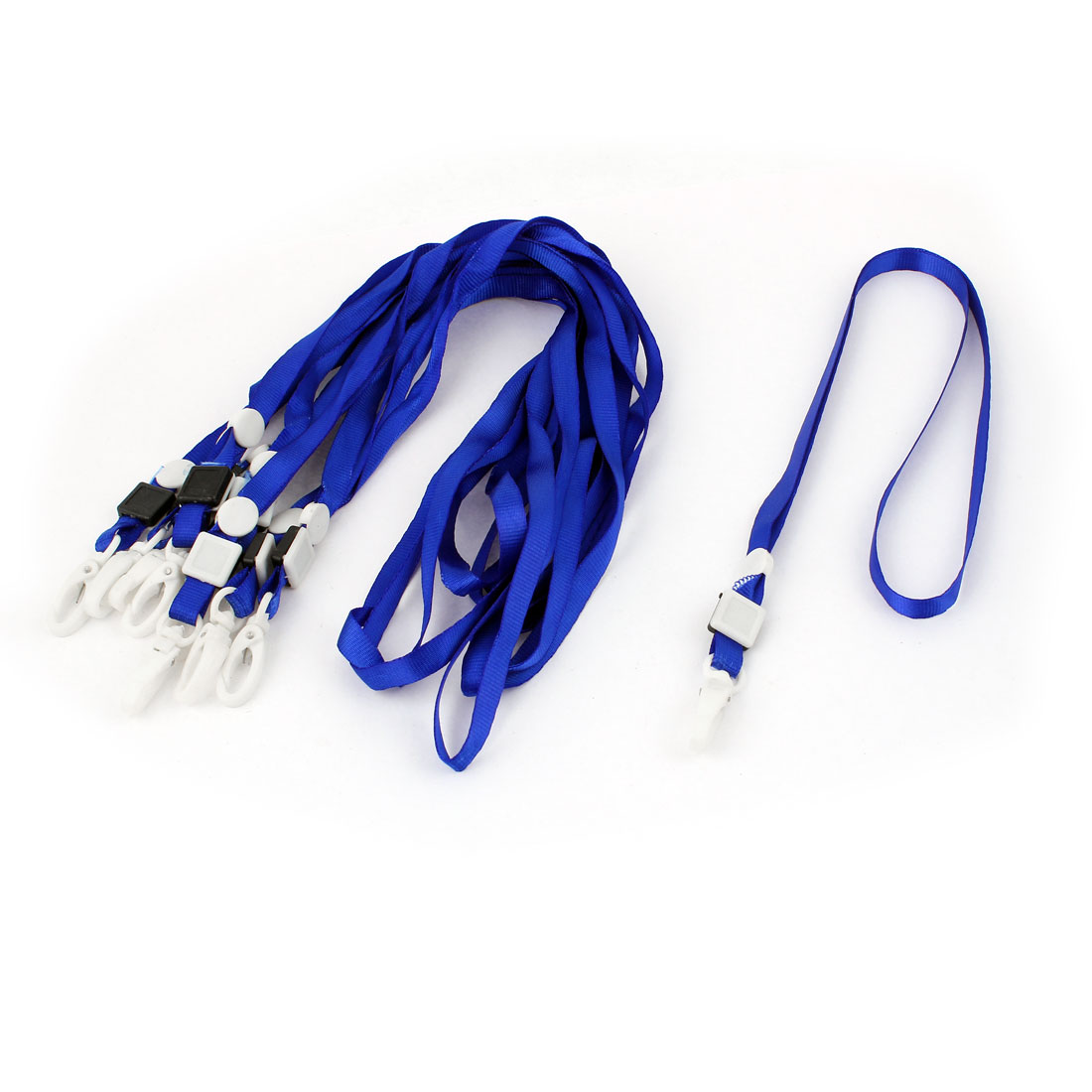 ID Card Name Tag Pass Badge Holder Plastic Clip Neck Strap Lanyard Blue 10pcs