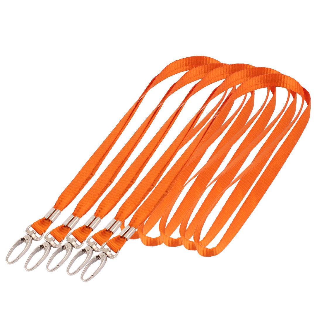 ID Card Tag Pass Badge Holder Metal Hook Clip Neck Strap Lanyard Orange 5pcs