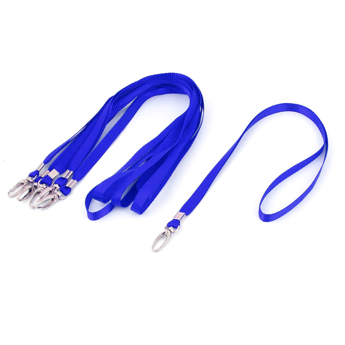 Metal Hook Clip Business ID Card Tag Pass Badge Neck Strap Lanyard Blue 5pcs