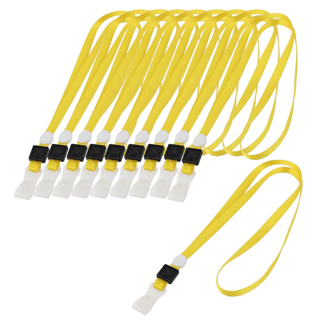 Staff ID Name Card Pass Badge Holder Neck Strap String Lanyard Yellow 10pcs