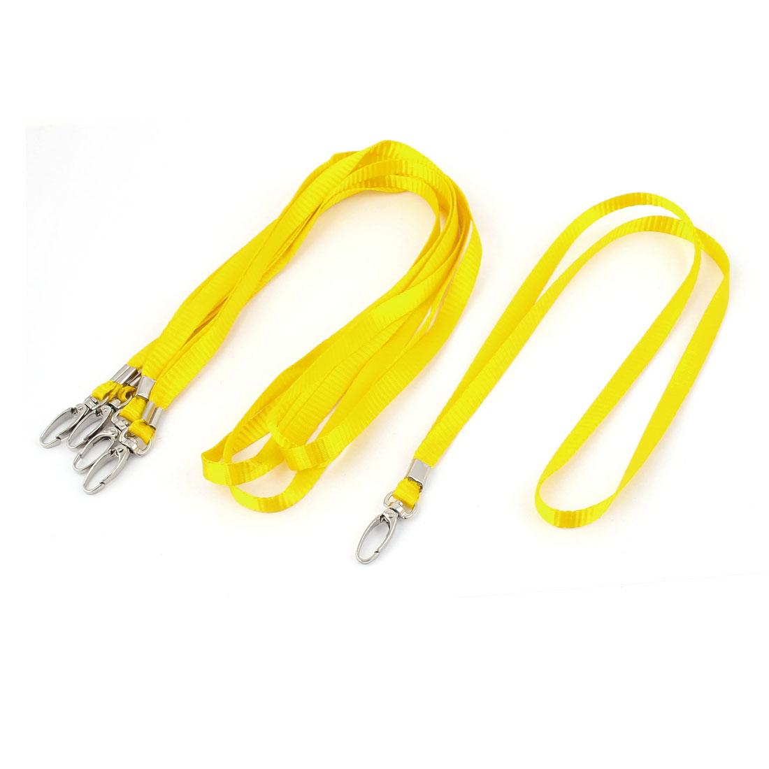ID Card Tag Pass Badge Holder Metal Hook Clip Neck Strap Lanyard Yellow 5pcs