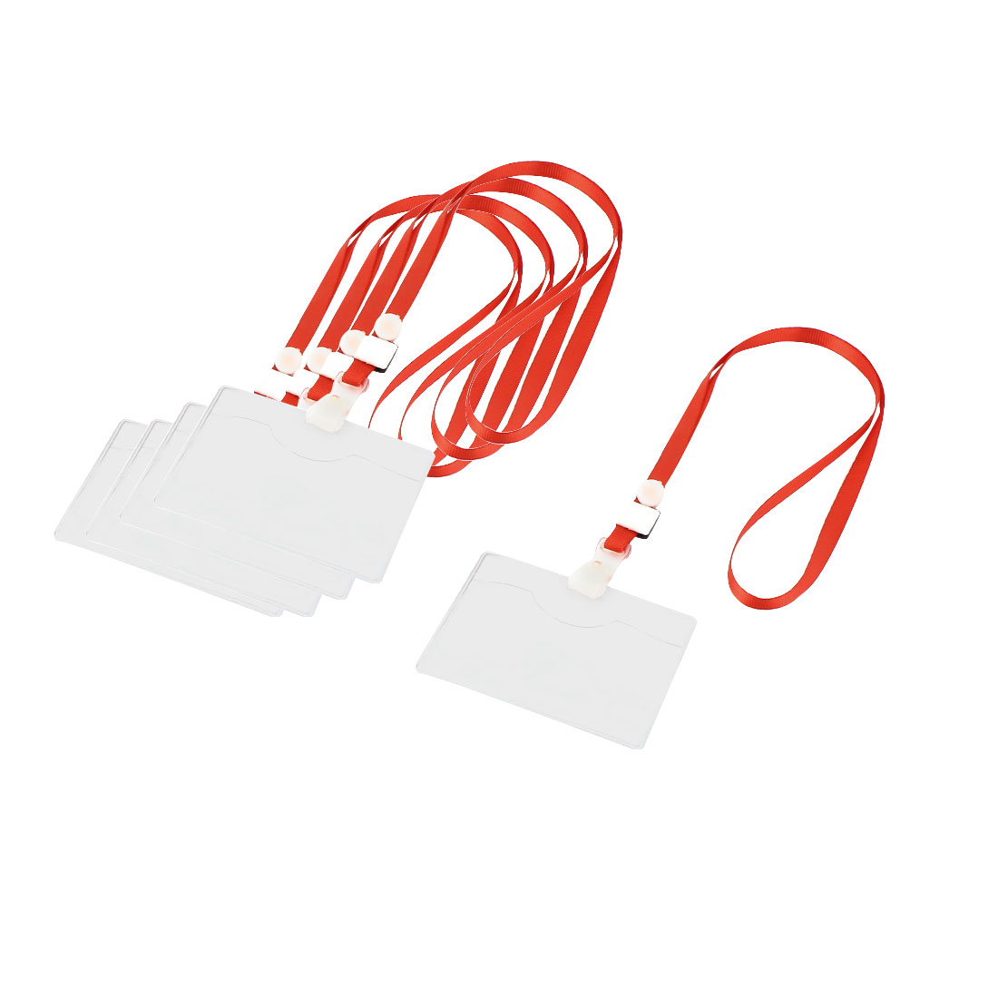 5pcs ID Card Name Tag Clip Neck Strap Lanyards Red w Horizontal Badge Holder