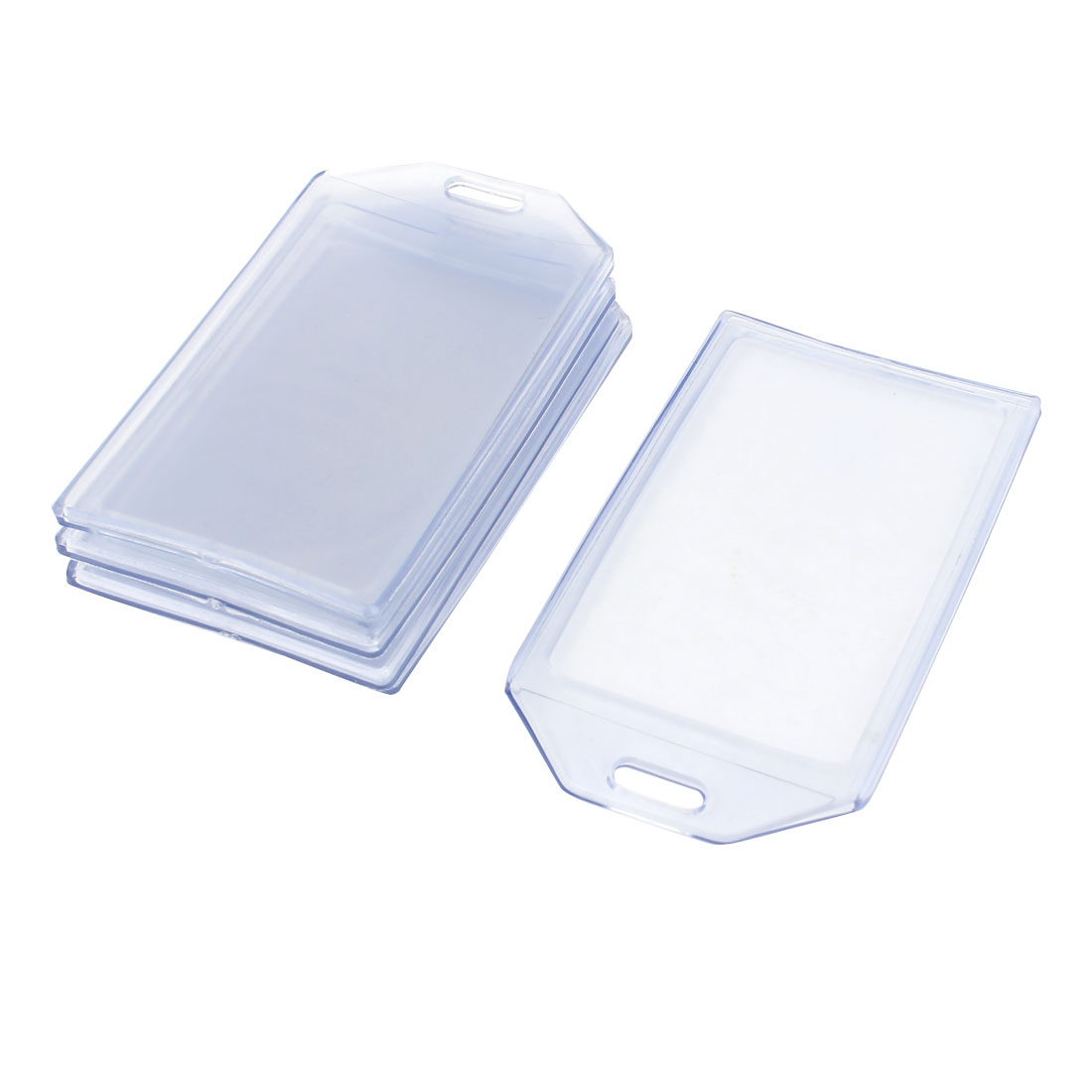 Vertical Clear Blue Plastic ID Card Name Tag Business Badge Holders Case 5pcs
