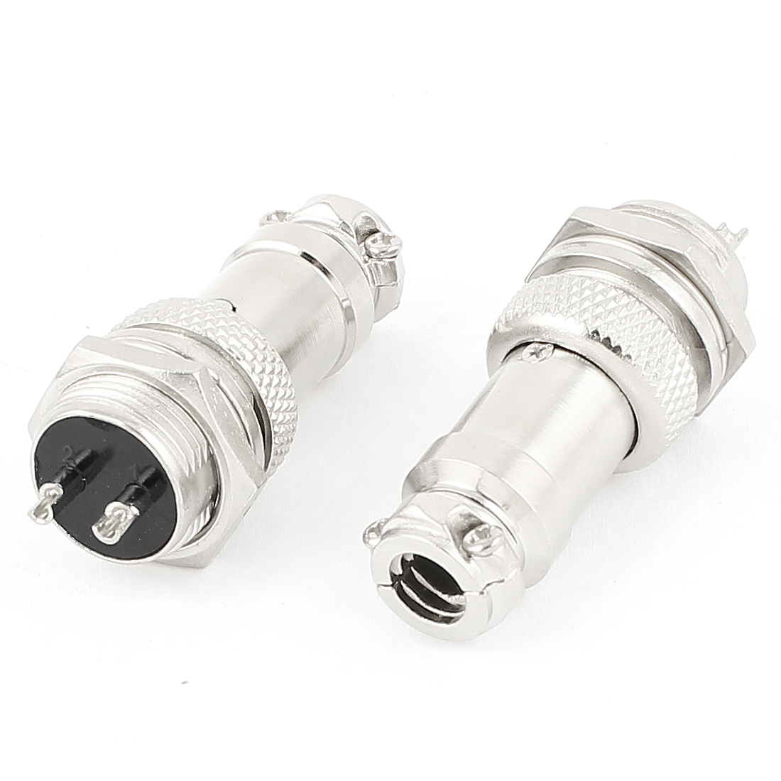 2 Pairs 16mm Thread Male Female Panel Metal Aviation Wire Connector