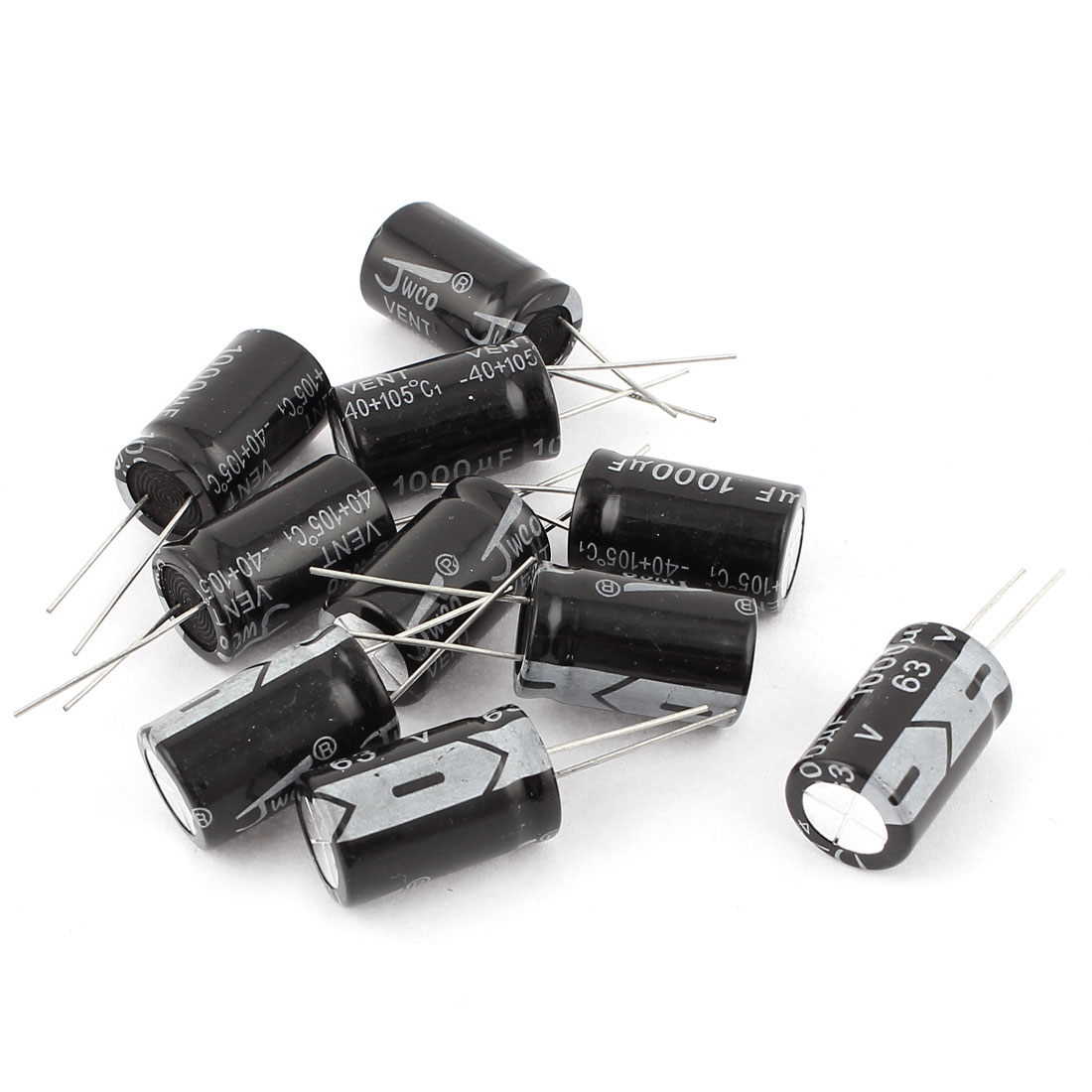 10pcs 16 x 25mm Cylindrical Radial Lead Electrolytic Capacitor 105C 1000uF 63V