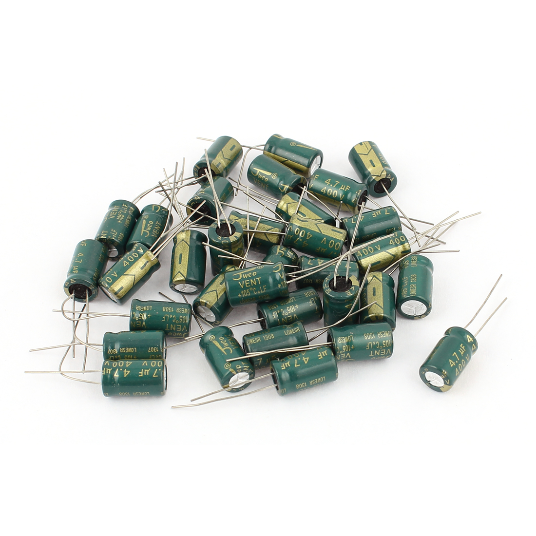 30pcs 8 x 12mm Cylindrical Radial Lead Electrolytic Capacitor 105C 4.7uF 400V