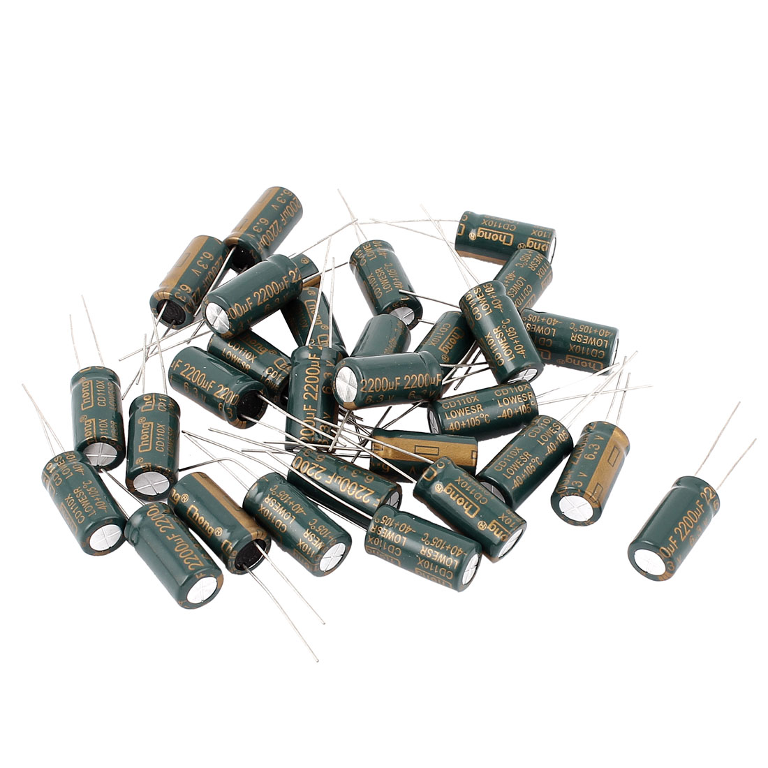 30pcs 10 x 20mm Cylindrical Radial Lead Electrolytic Capacitor 105C 2200uF 6.3V