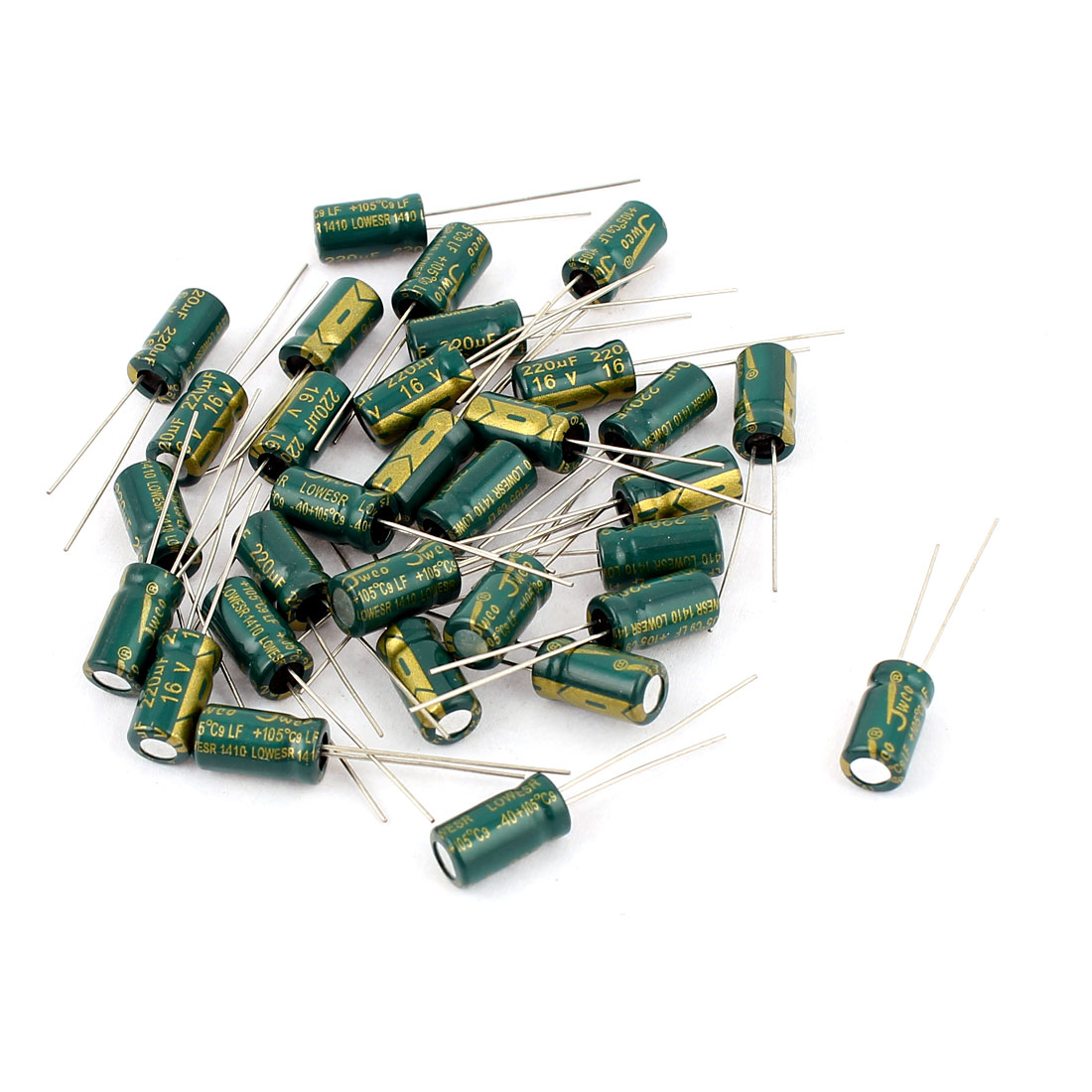 30pcs 6 x 12mm Cylindrical Radial Lead Electrolytic Capacitor 105C 220uF 16V