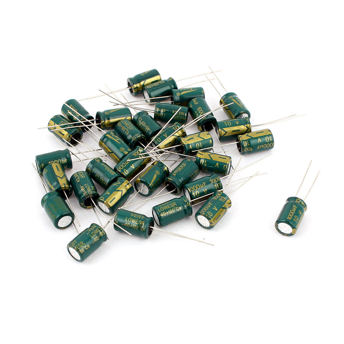 30pcs 8 x 12mm Cylindrical Radial Lead Electrolytic Capacitor 105C 1000uF 10V
