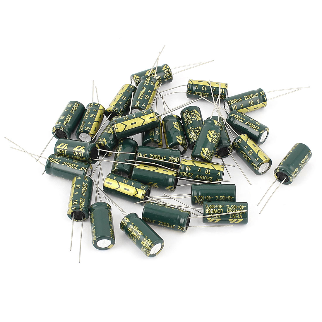 10mm x 20mm Cylindrical Radial Lead Electrolytic Capacitor 105C 2200uF 10V 30pcs