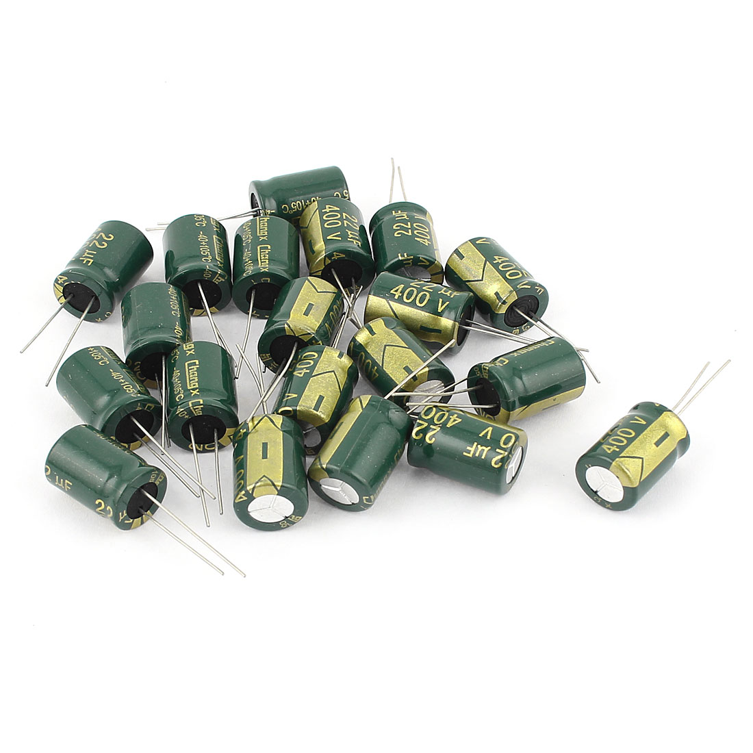 20pcs 13 x 18mm Cylindrical Radial Lead Electrolytic Capacitor 105C 22uF 400V