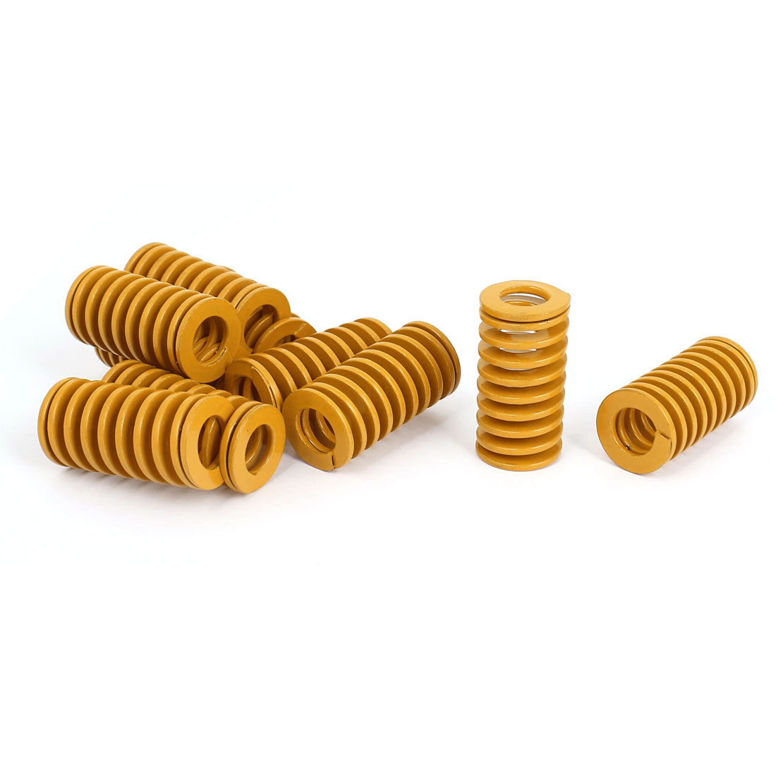 20mm OD 40mm Long Light Load Stamping Compression Mold Die Spring Yellow 10pcs