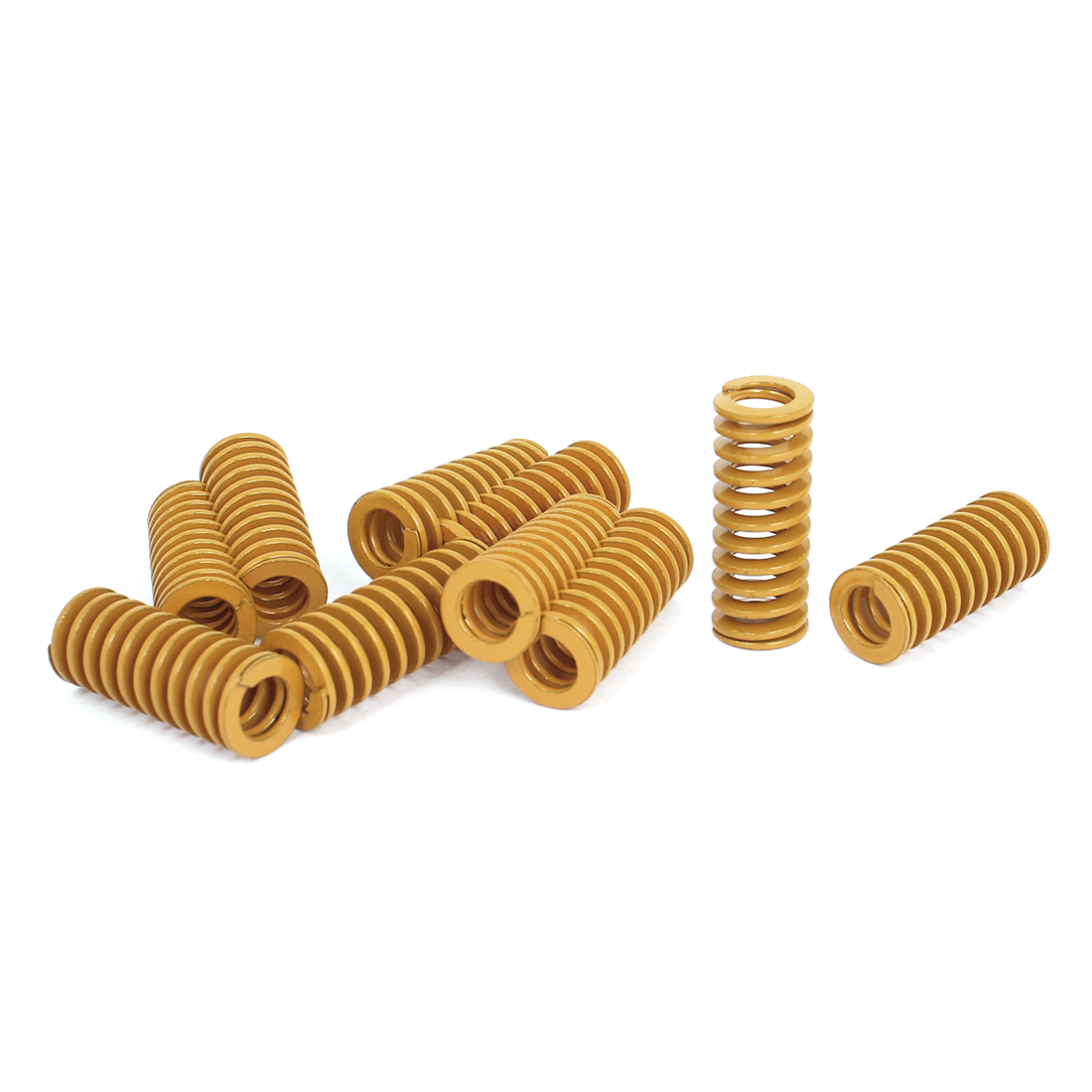 16mm OD 40mm Long Light Load Stamping Compression Mold Die Spring Yellow 10pcs