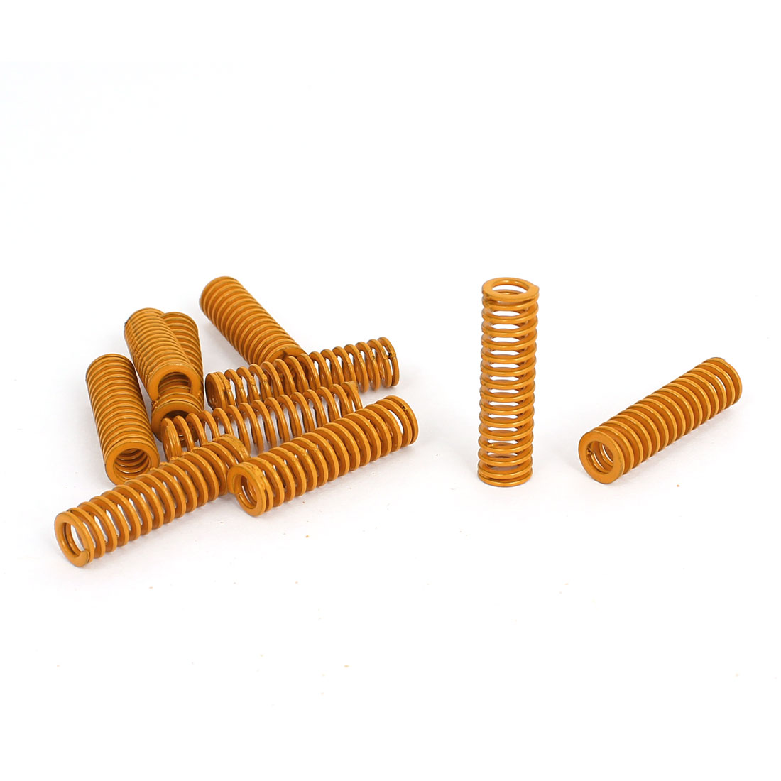 8mm OD 30mm Long Light Load Stamping Compression Mould Die Spring Yellow 10pcs