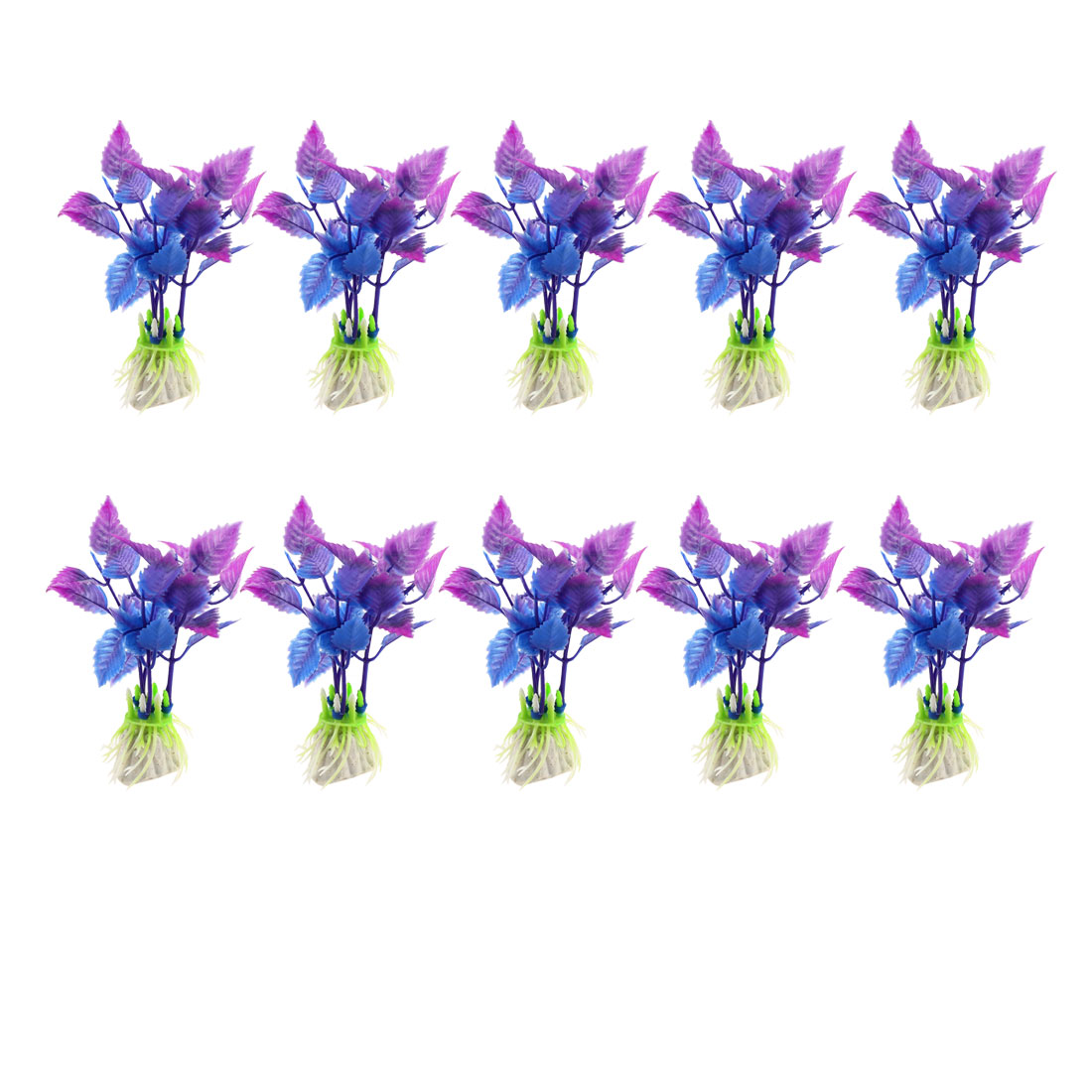Aquarium Fish Tank Purple Blue Artificial Plastic Water Plant Grass 10Pcs