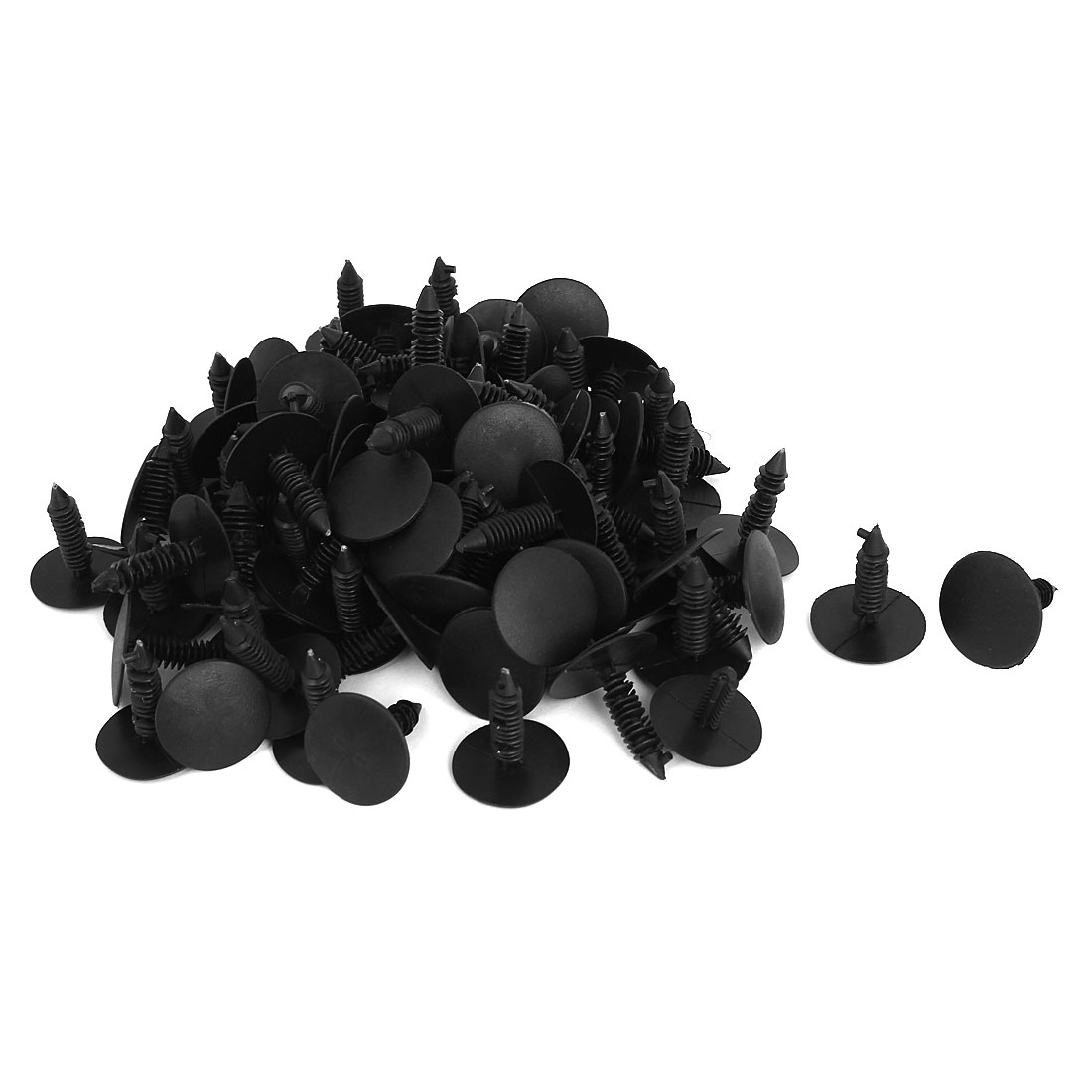 Car Auto Plastic Push in Rivets Clips Door Retainer Black 26mm Dia. Head 100 Pcs