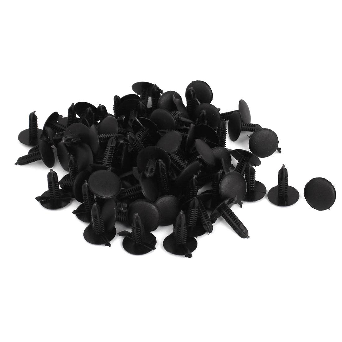 7mm Hole Dia Plastic Rivets Fastener Car Fender Bumper Push Clips Black 100pcs