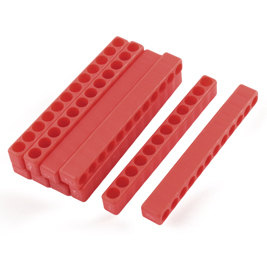 100mm Long 7mm Dia 12-Hole Screwdriver Bit Holder Block Red 10 Pcs