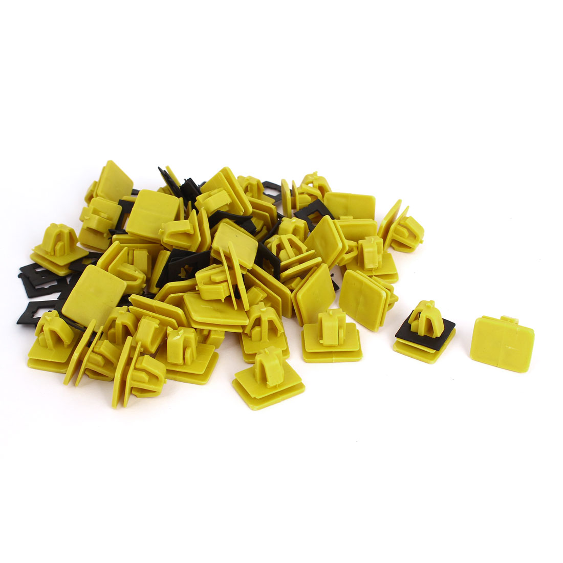 Car Auto Yellow Plastic Rectangle Rivets Fastener Panel Fixing Clips 50 Pcs