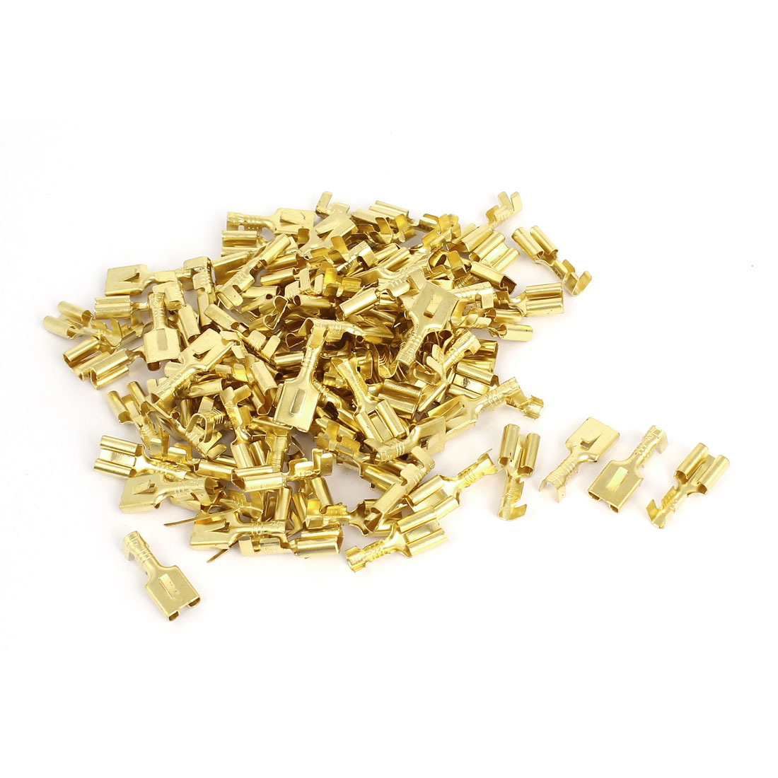 100 Pcs 7mm Crimp Cable Terminal Female Spade Connectors Gold Tone