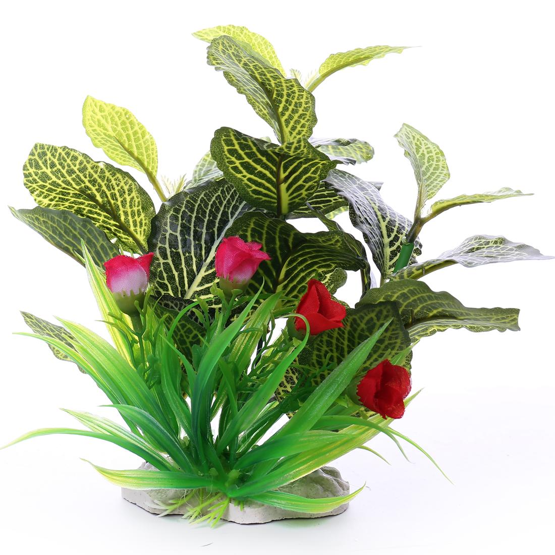 max 18cm long leaf Flower Aquarium Plants Fish Tank Plastic Decoration