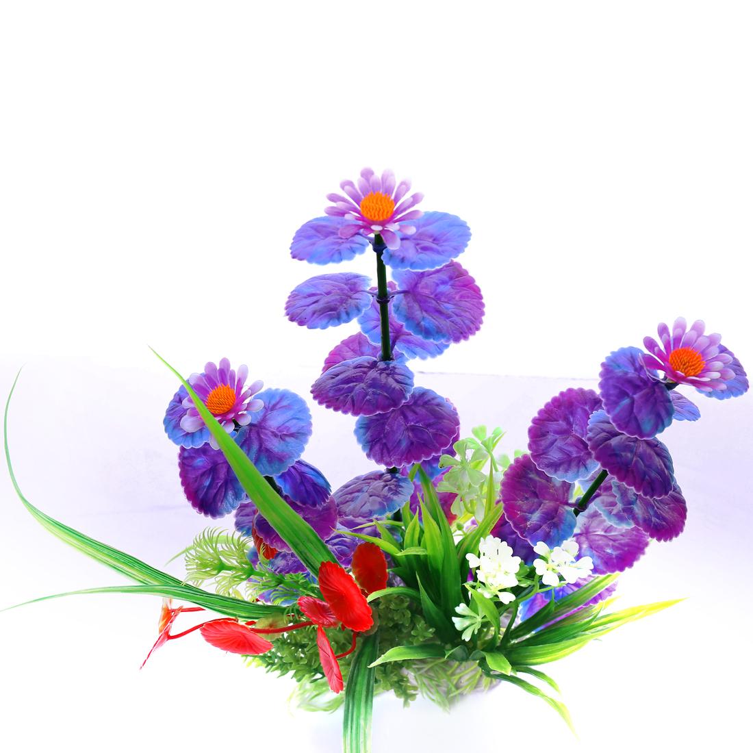 max 24cm long multi color Flower Aquarium Plastic Plants Fish Tank Ornament