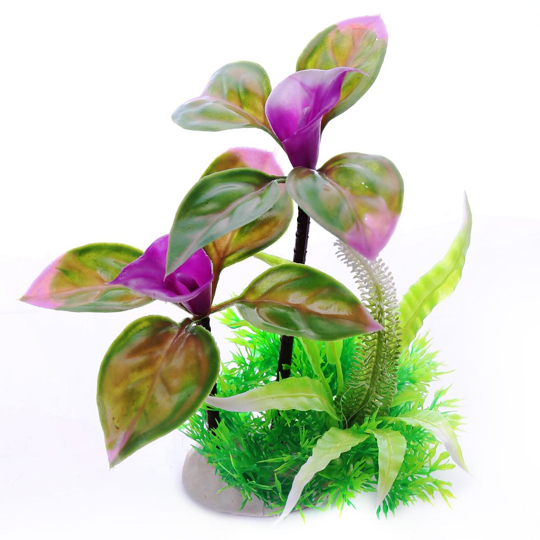 max long 18cm multi color Flower Leaf Aquarium Plastic Plants Decoration