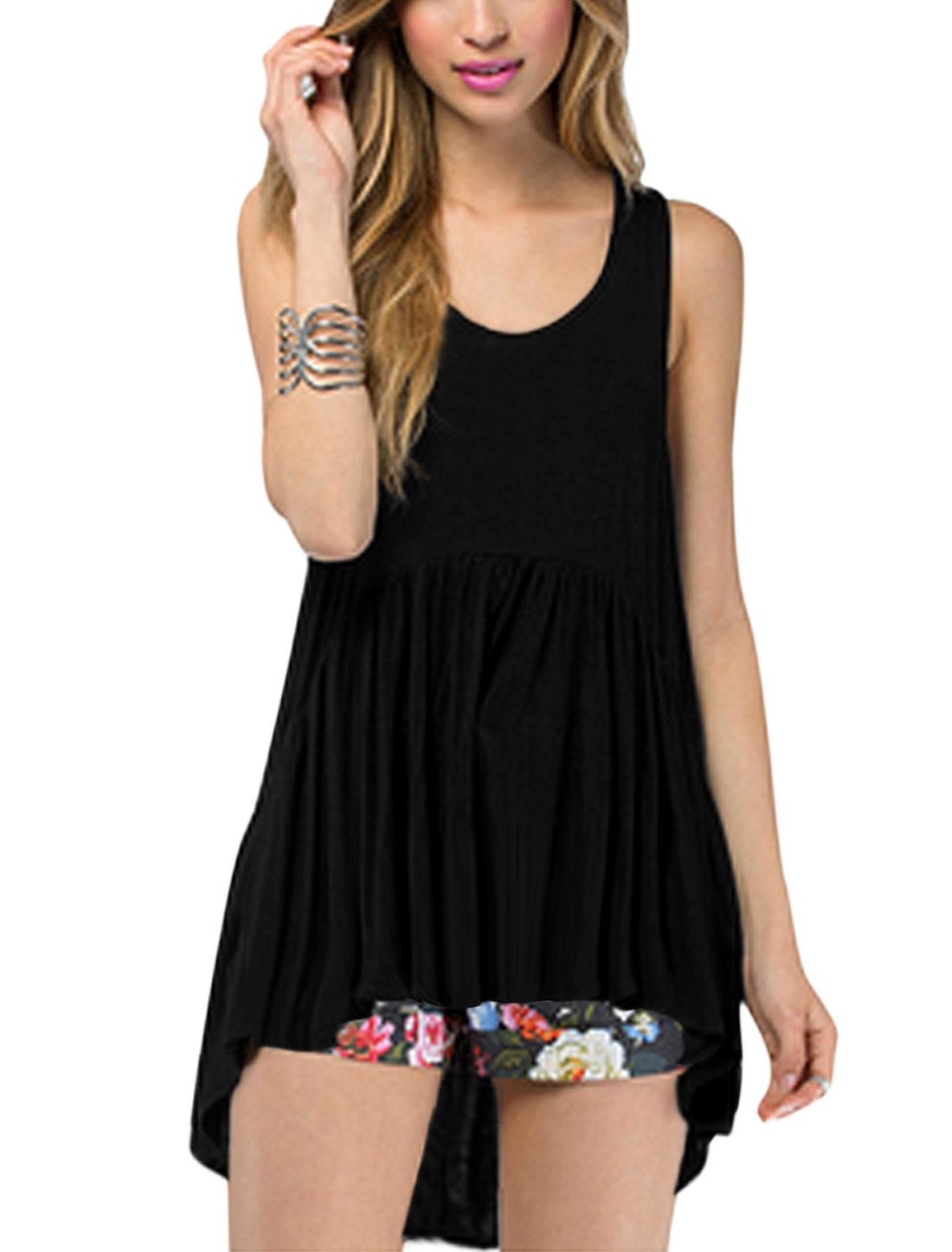 Women Scoop Neck Sleeveless Asymmetric Hem Casual Tops Black M