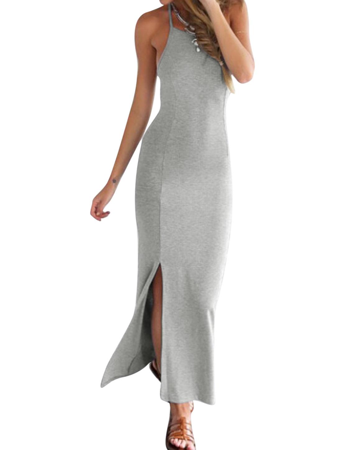 Ladies Halter Neck Split Hem Open Back Casual Maxi Dress Light Gray S