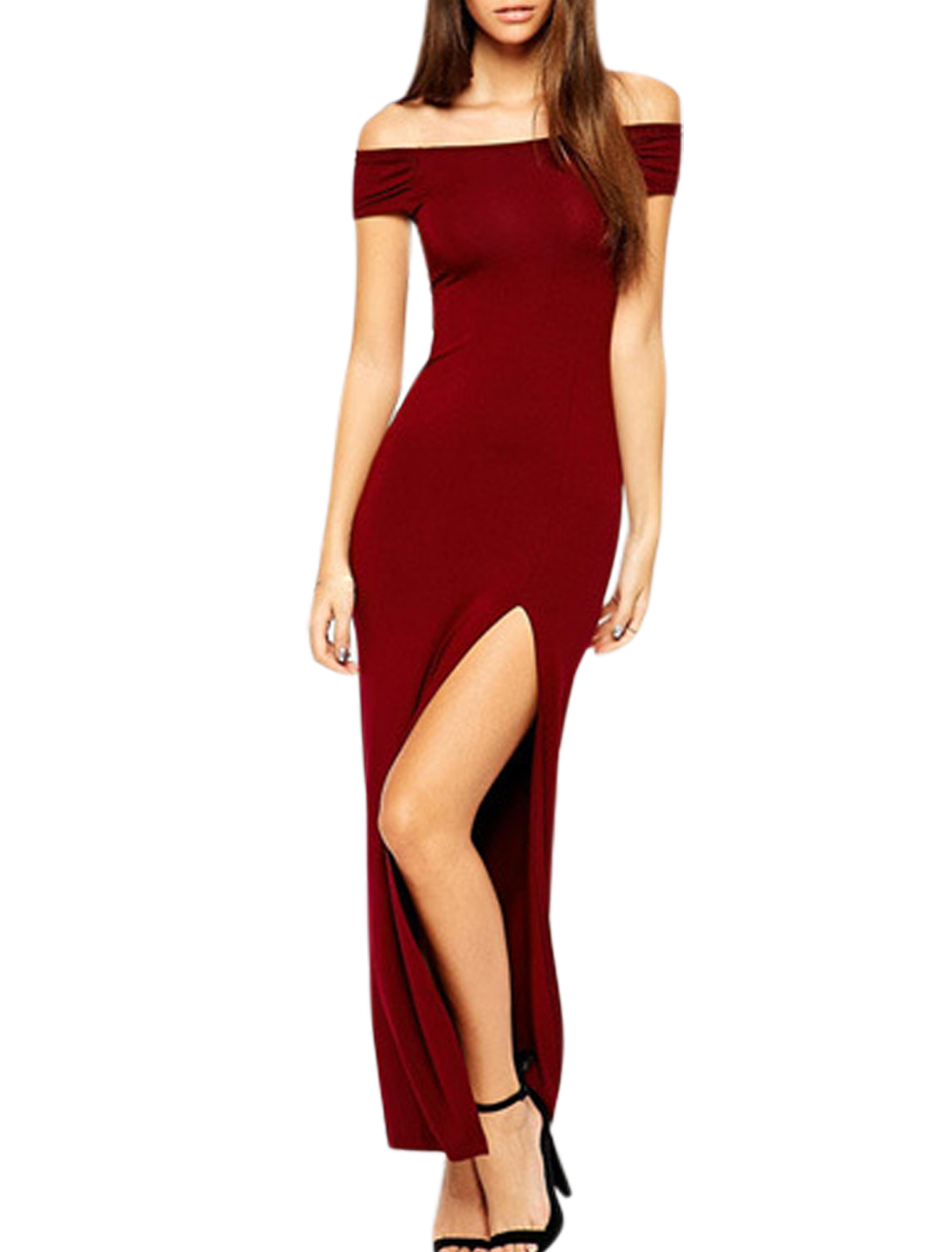 Women Cut Out Back Off Shoulder Split Hem Sheath Dress Burgundy L