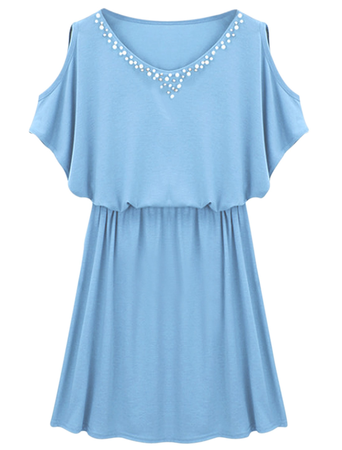 Women Round Neck Cut Out Shoulder Beads Decor Blouson Dress Sky Blue S