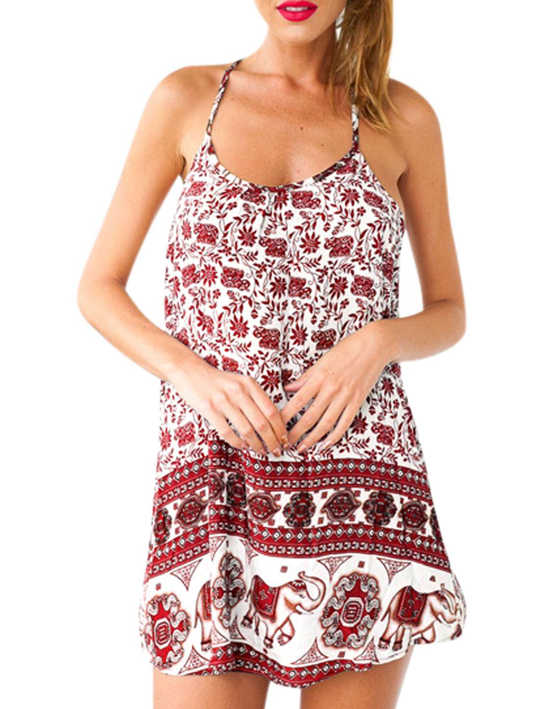 Woman Floral Geometrical Prints Halter Neck Slipover Sundress Red XS