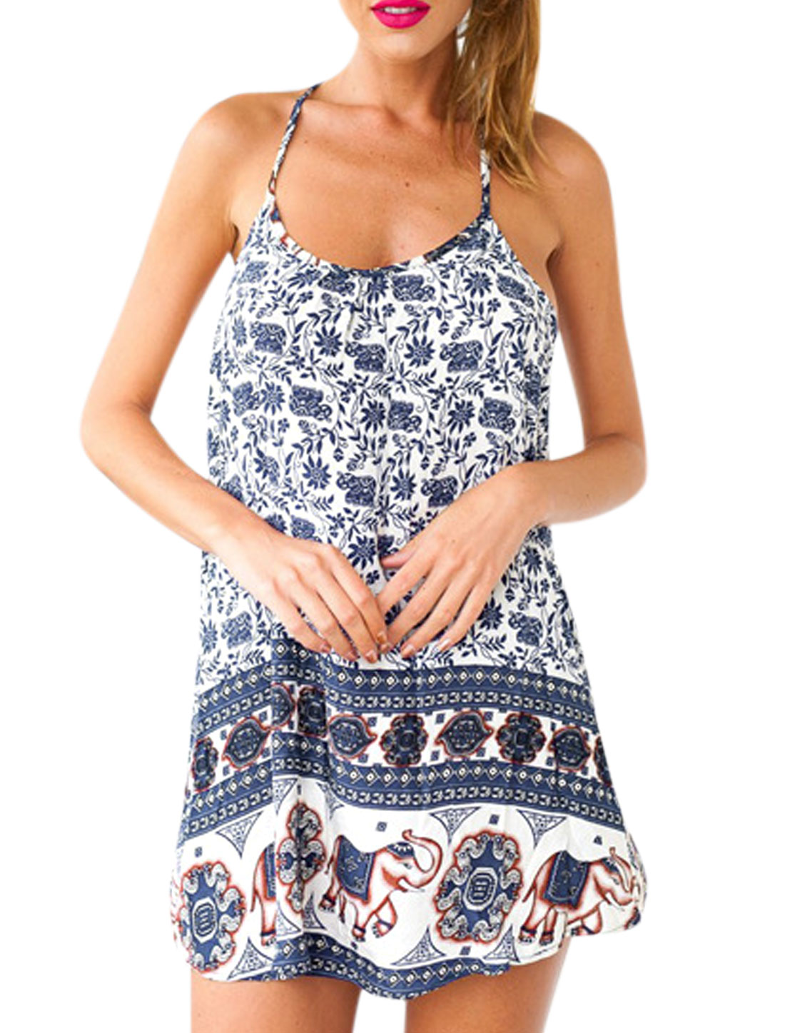 Woman Floral Geometrical Prints Halter Neck Sleeveless Sundress Blue XS