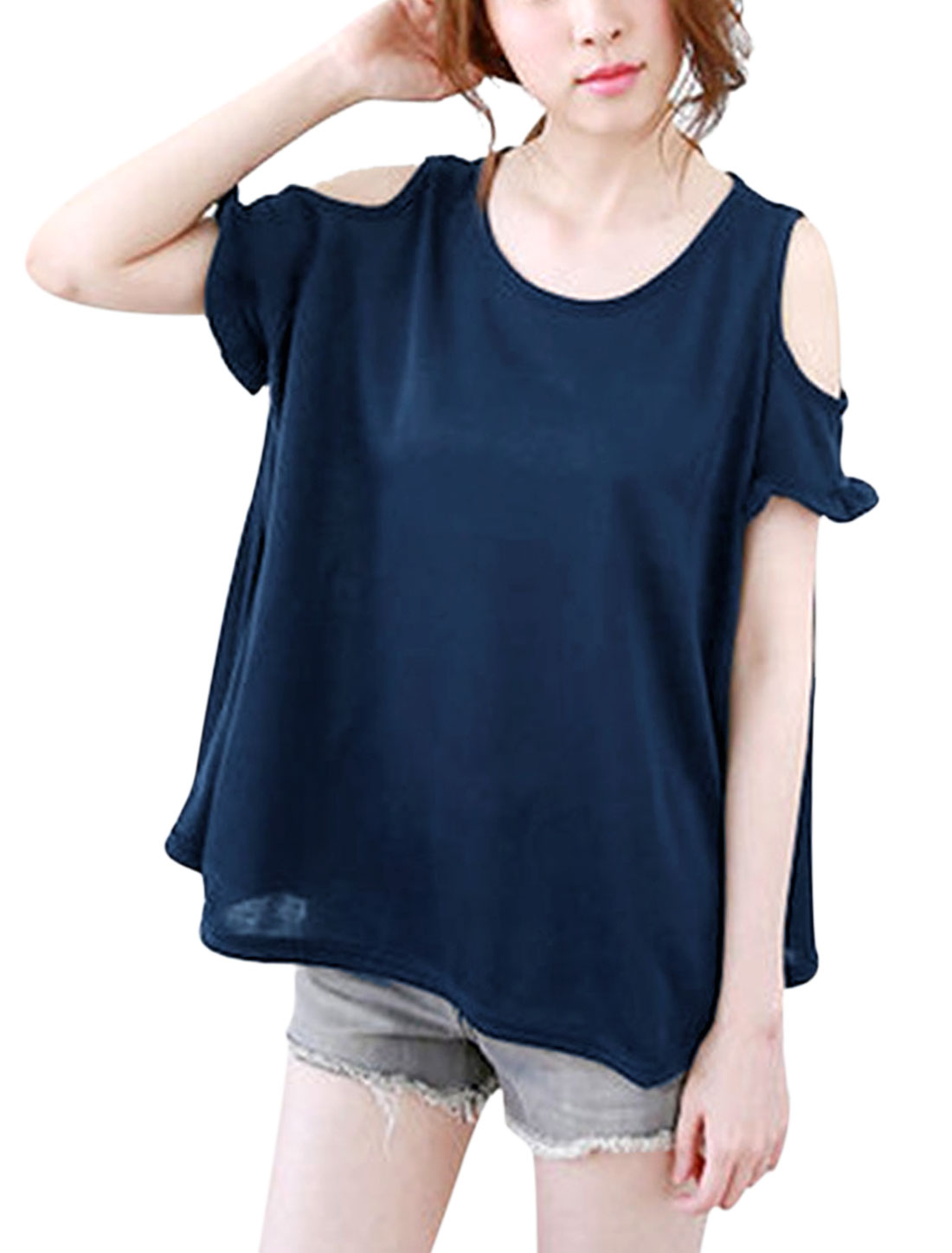 Woman Cold Shoulder Flouncing Cuffs Round Neck Blouse Dark Blue S