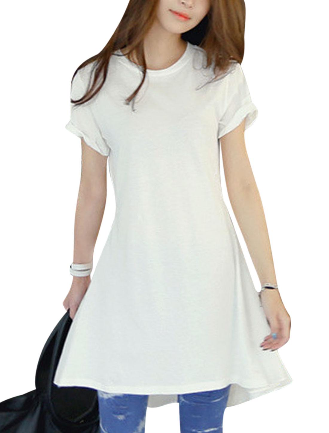 Women Round Neck Short Sleeves Low High Hem Tunic Tops White XS